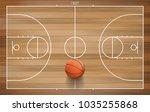basketball ball on basketball... | Shutterstock .eps vector #1035255868