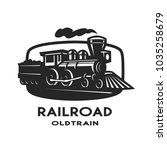old steam train emblem  logo. | Shutterstock . vector #1035258679