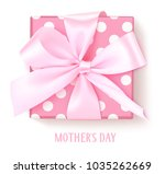 vector gift box with pink bow... | Shutterstock .eps vector #1035262669