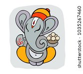 hindu god ganesha. hand drawn... | Shutterstock .eps vector #1035267460