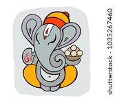 hindu god ganesha. hand drawn... | Shutterstock .eps vector #1035267460