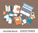 workplace desktop background.... | Shutterstock .eps vector #1035270403