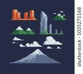 nature landscape pixel art... | Shutterstock .eps vector #1035271168