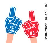 fan foam finger. blue and red... | Shutterstock .eps vector #1035273289