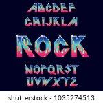 alphabet 80's retro font. fire... | Shutterstock .eps vector #1035274513
