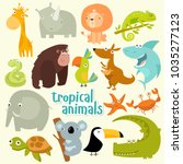 big set of vector animals.... | Shutterstock .eps vector #1035277123