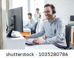 smiling customer support... | Shutterstock . vector #1035280786