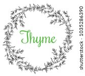 hand drawn thyme  plant wreath... | Shutterstock .eps vector #1035286390