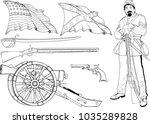 set of images of the civil war... | Shutterstock .eps vector #1035289828