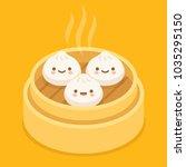 cute cartoon dim sum ... | Shutterstock .eps vector #1035295150