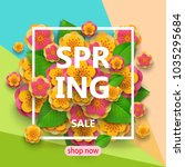 spring sale flyer template with ... | Shutterstock .eps vector #1035295684