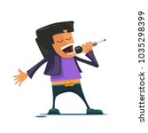 the singer sings with a...   Shutterstock .eps vector #1035298399