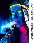 neon hippie girl smoking hookah ... | Shutterstock . vector #1035298690