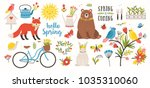 spring set. collection of cute... | Shutterstock .eps vector #1035310060