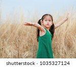 cheering little child girl open ... | Shutterstock . vector #1035327124
