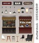 coffee shop bar interior... | Shutterstock .eps vector #1035328549