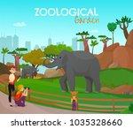 zoological garden cartoon... | Shutterstock .eps vector #1035328660
