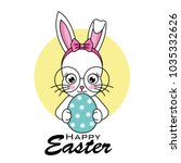 happy easter card. hipster... | Shutterstock .eps vector #1035332626