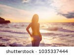 beautiful girl with long hair... | Shutterstock . vector #1035337444