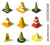 cone traffic fence icons set.... | Shutterstock .eps vector #1035338368