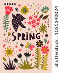 romantic spring card with a set ... | Shutterstock .eps vector #1035340024