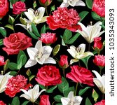seamless floral pattern on... | Shutterstock .eps vector #1035343093