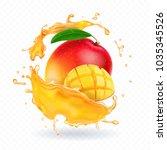 a splash of juice with mango... | Shutterstock .eps vector #1035345526