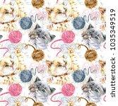 Stock photo cute kitten playing ball of wool threads hand drawn watercolor seamless pattern domestic cat 1035349519