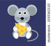 cartoon flat mouse with cheese | Shutterstock .eps vector #1035362110