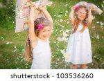 happy childhood little girls... | Shutterstock . vector #103536260
