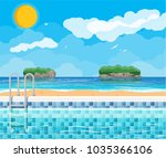 swimming pool and ladder. ocean ... | Shutterstock .eps vector #1035366106