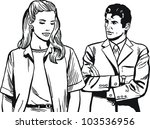 vintage illustration  couple of ... | Shutterstock . vector #103536956