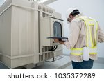 electric power engineer check... | Shutterstock . vector #1035372289