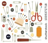 collection sets of sewing... | Shutterstock .eps vector #1035372718