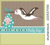 baby boy arrival card  vector | Shutterstock .eps vector #103537550