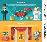 two horizontal theatre flyer... | Shutterstock .eps vector #1035376864