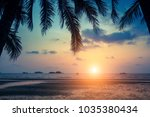 tropical sea beach during... | Shutterstock . vector #1035380434