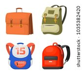 back to school kids backpack... | Shutterstock .eps vector #1035382420