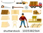 timber vector woodcutter... | Shutterstock .eps vector #1035382564