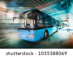 electric bus discharged in the... | Shutterstock . vector #1035388069