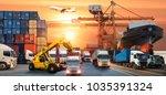 logistics and transportation of ... | Shutterstock . vector #1035391324