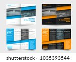 template is a bi fold business... | Shutterstock .eps vector #1035393544