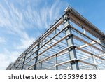steel frame workshop is under... | Shutterstock . vector #1035396133
