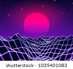 neon grid landscape and purple... | Shutterstock .eps vector #1035401083