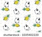seamless pattern  cute bull... | Shutterstock .eps vector #1035402220