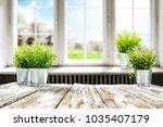 blurred background of window... | Shutterstock . vector #1035407179