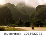 motorbikes in the landscape at...   Shutterstock . vector #1035422773