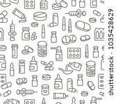 seamless pattern with medicine... | Shutterstock .eps vector #1035428629