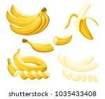 banana and slices of bananas.... | Shutterstock .eps vector #1035433408