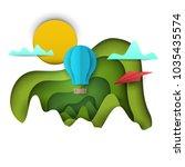 3d vector paper cut green... | Shutterstock .eps vector #1035435574
